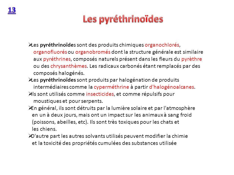 13 Les pyréthrinoïdes.