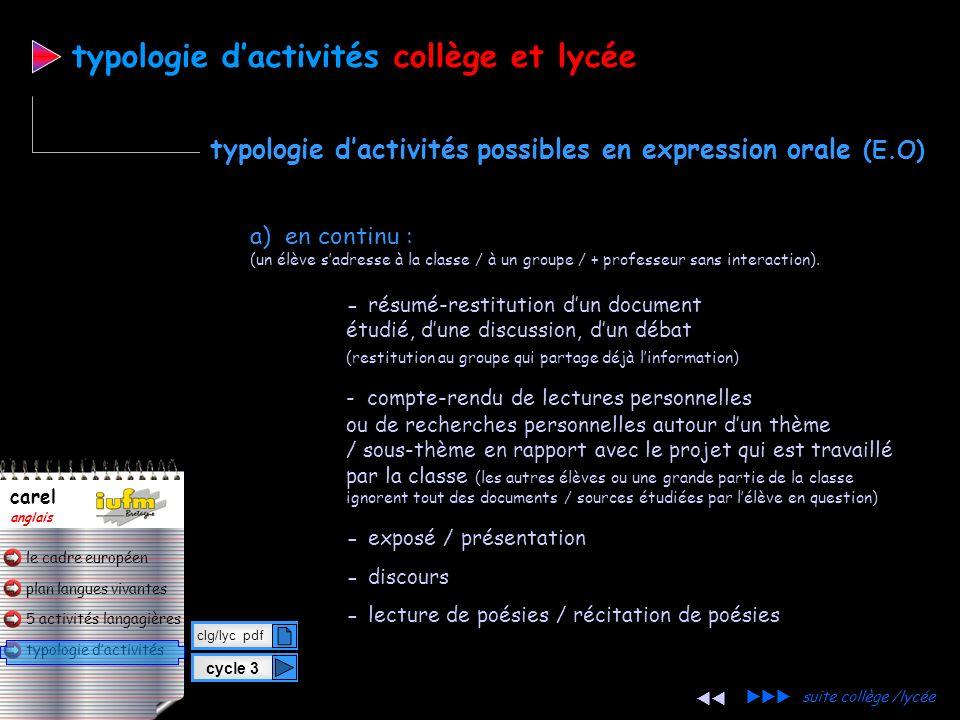 typologie d'activités collège et lycée
