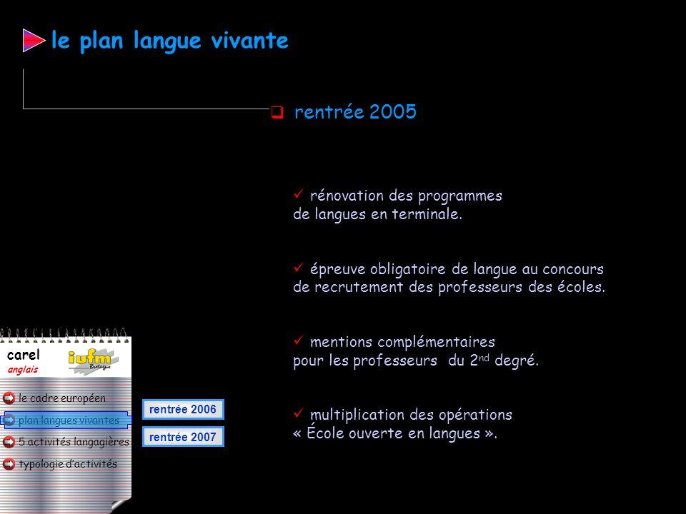 le plan langue vivante rentrée 2005