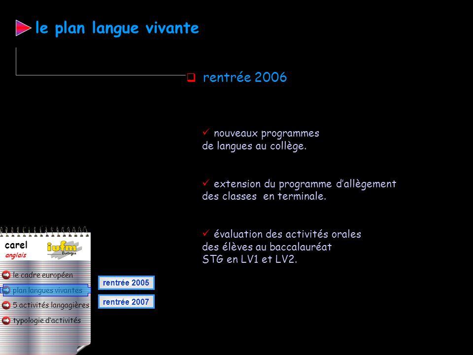 le plan langue vivante rentrée 2006