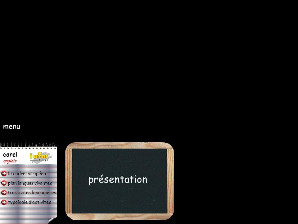 menu présentation