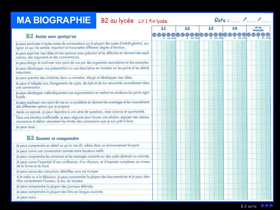MA BIOGRAPHIE B2 au lycée LV 1 fin lycée B 2 suite 