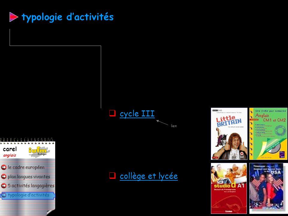 typologie d'activités
