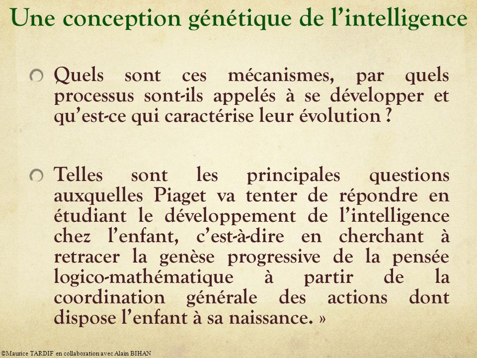 Une conception génétique de l'intelligence
