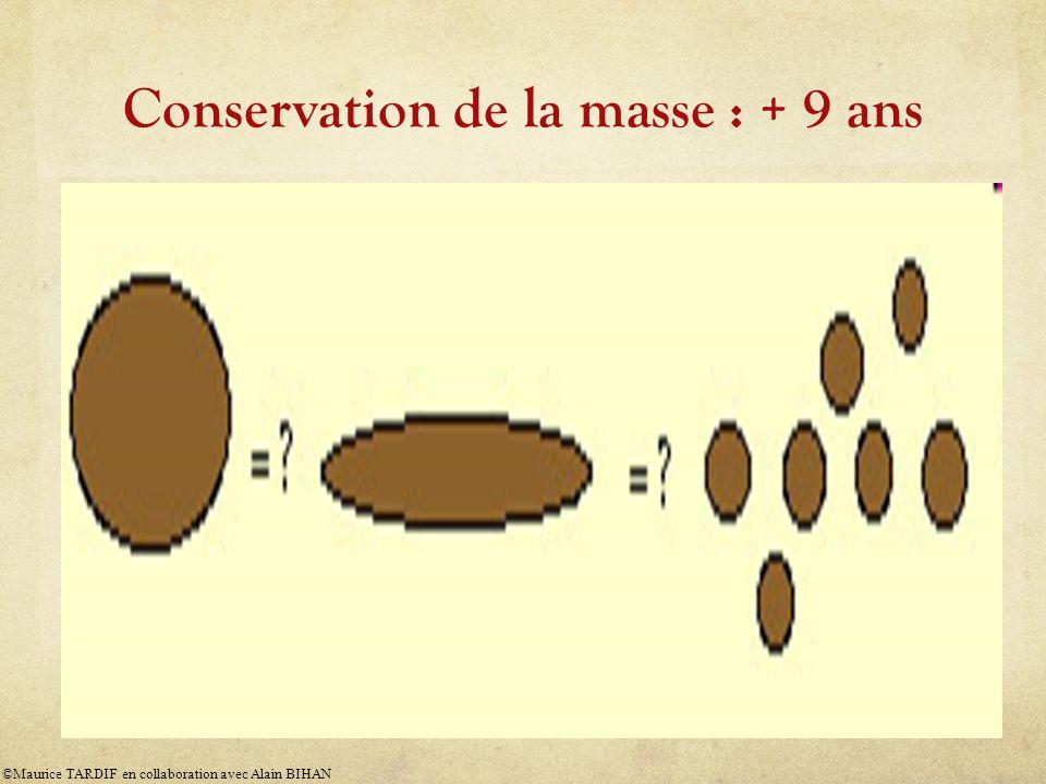 Conservation de la masse : + 9 ans