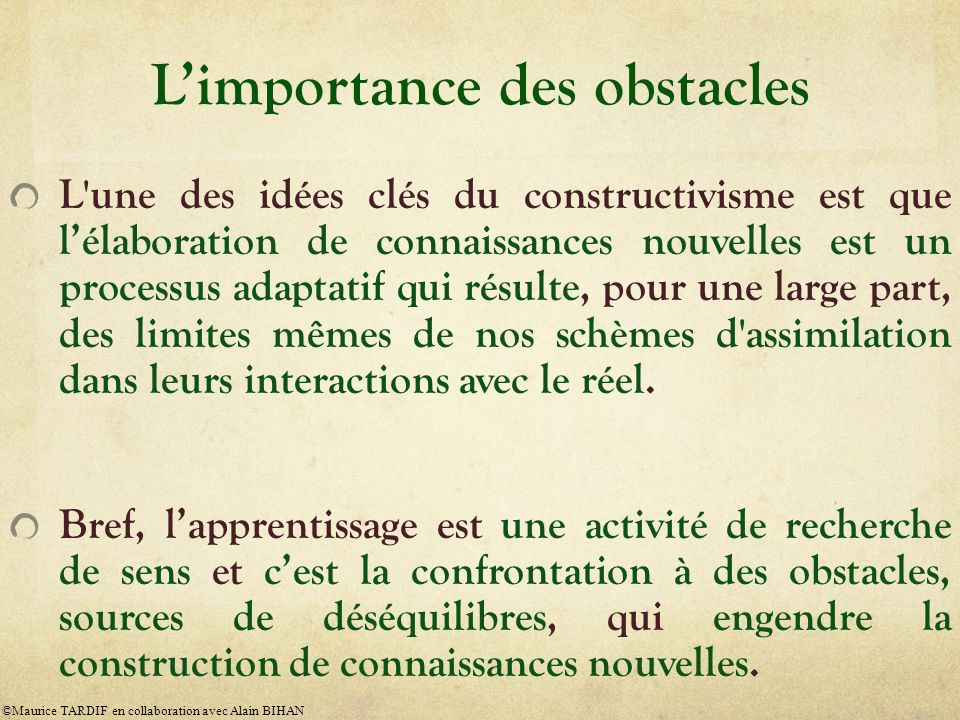 L'importance des obstacles