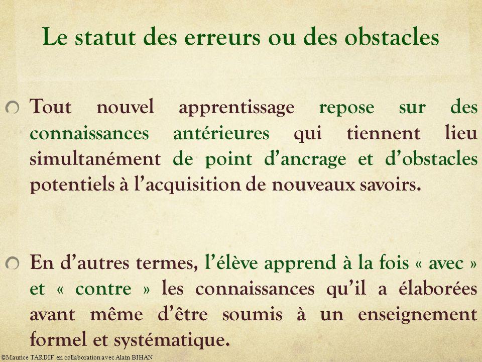 Le statut des erreurs ou des obstacles