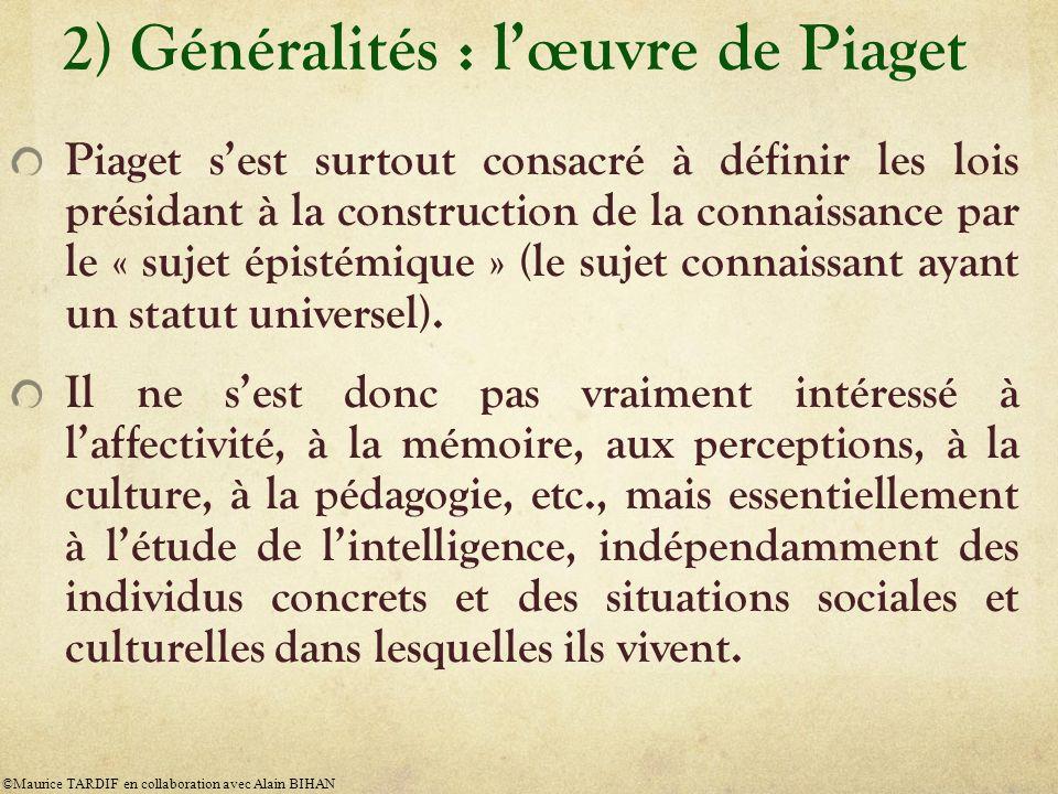 2) Généralités : l'œuvre de Piaget