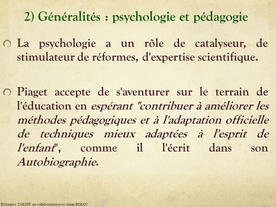 2) Généralités : psychologie et pédagogie