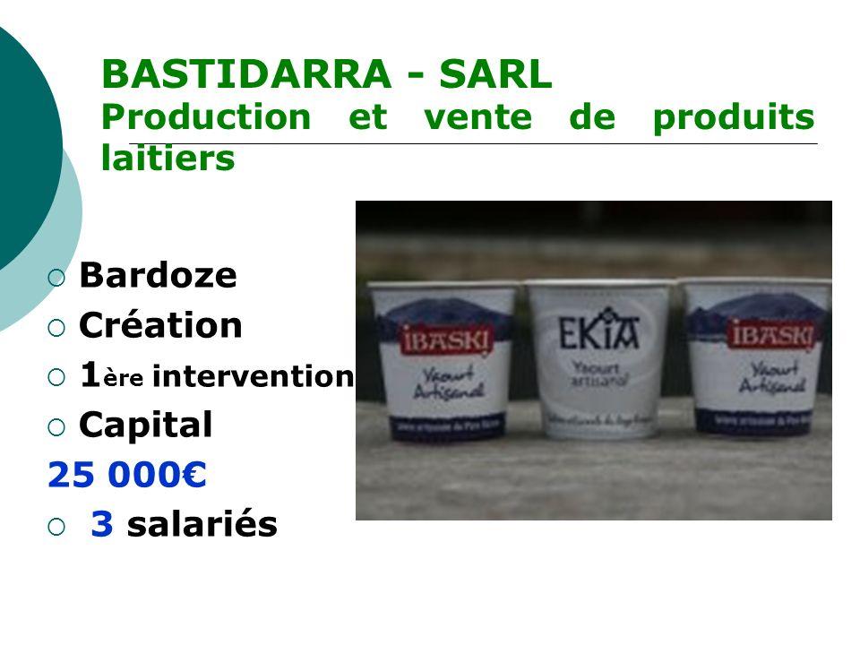 BASTIDARRA - SARL Production et vente de produits laitiers Bardoze