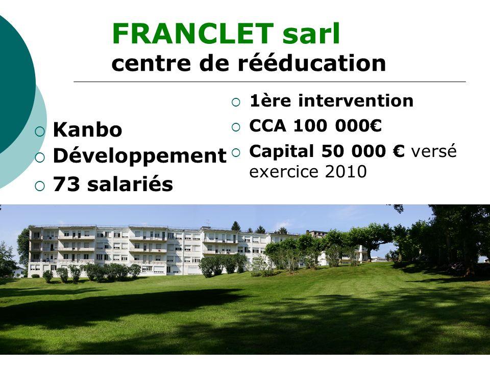 FRANCLET sarl centre de rééducation Kanbo Développement 73 salariés