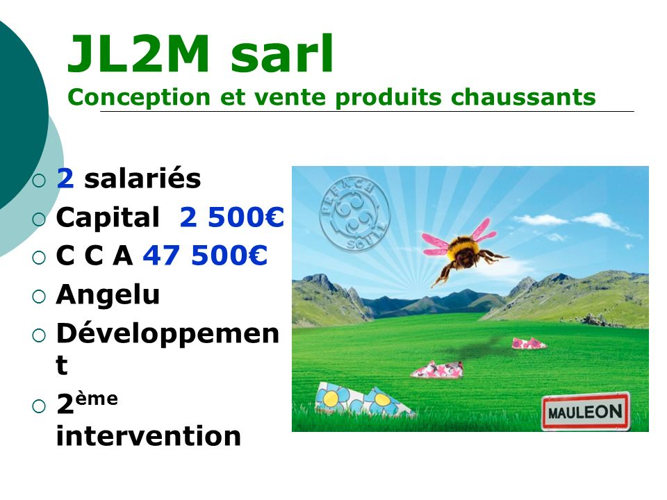 JL2M sarl 2 salariés Capital 2 500€ C C A 47 500€ Angelu Développement