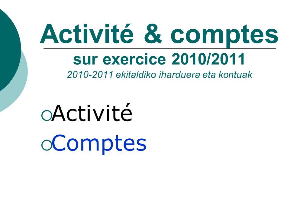 Activité & comptes sur exercice 2010/2011 2010-2011 ekitaldiko iharduera eta kontuak