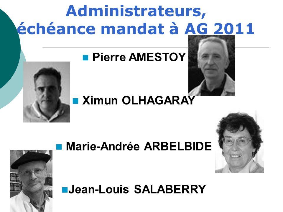 Administrateurs, échéance mandat à AG 2011 Marie-Andrée ARBELBIDE