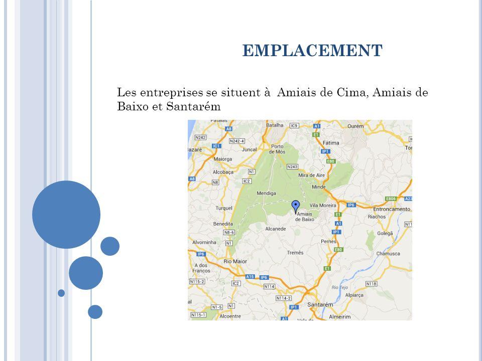 emplacement Les entreprises se situent à Amiais de Cima, Amiais de Baixo et Santarém