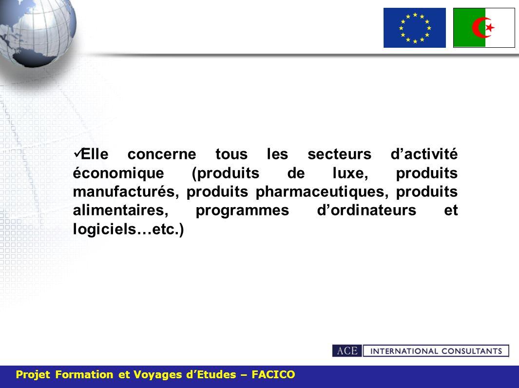 Elle concerne tous les secteurs d'activité économique (produits de luxe, produits manufacturés, produits pharmaceutiques, produits alimentaires, programmes d'ordinateurs et logiciels…etc.)