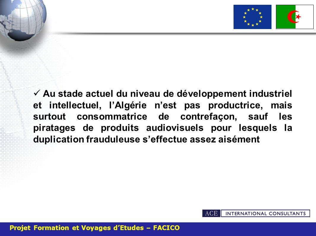 Au stade actuel du niveau de développement industriel et intellectuel, l'Algérie n'est pas productrice, mais surtout consommatrice de contrefaçon, sauf les piratages de produits audiovisuels pour lesquels la duplication frauduleuse s'effectue assez aisément