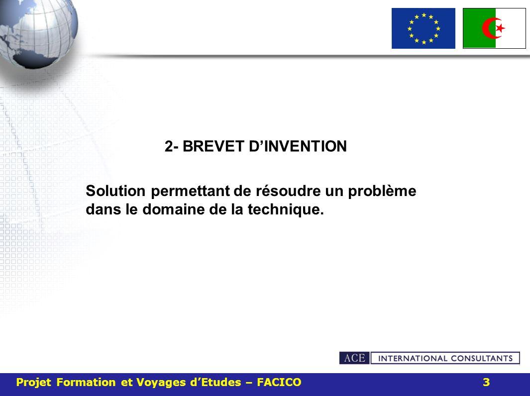 2- BREVET D'INVENTION Solution permettant de résoudre un problème dans le domaine de la technique.