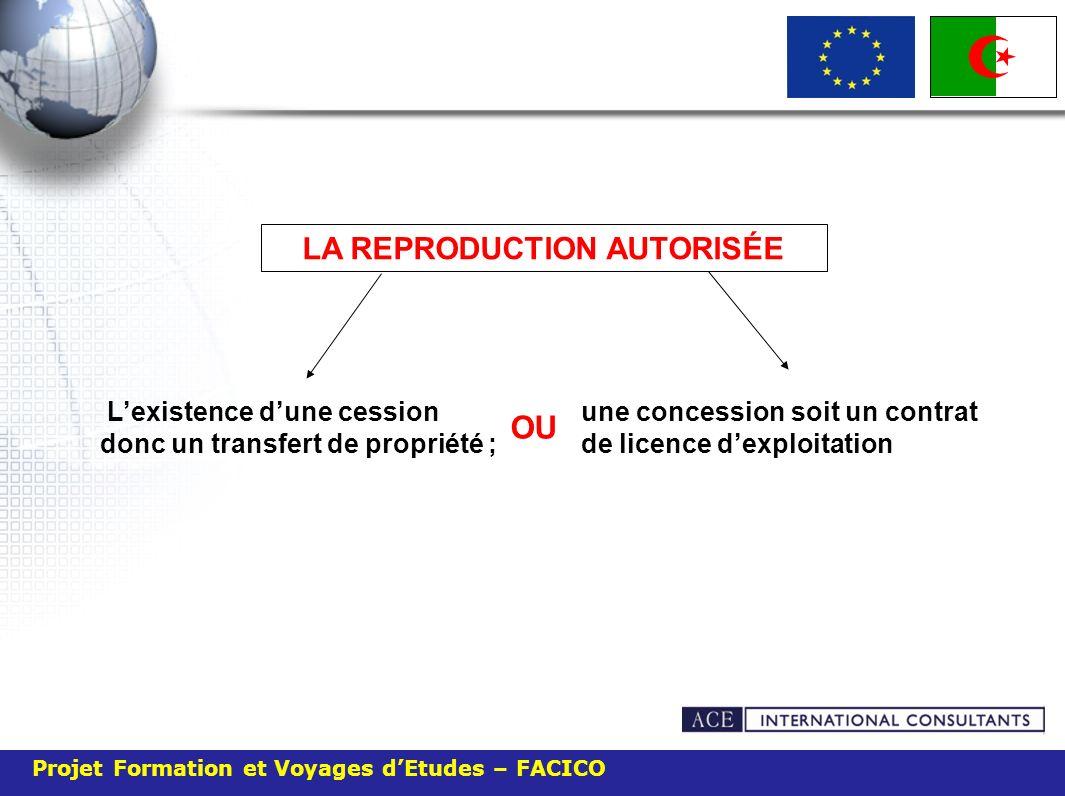 LA REPRODUCTION AUTORISÉE