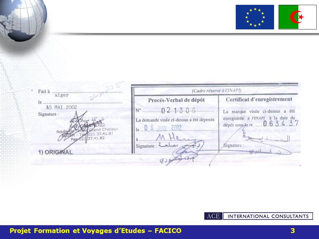 Projet Formation et Voyages d'Etudes – FACICO 3