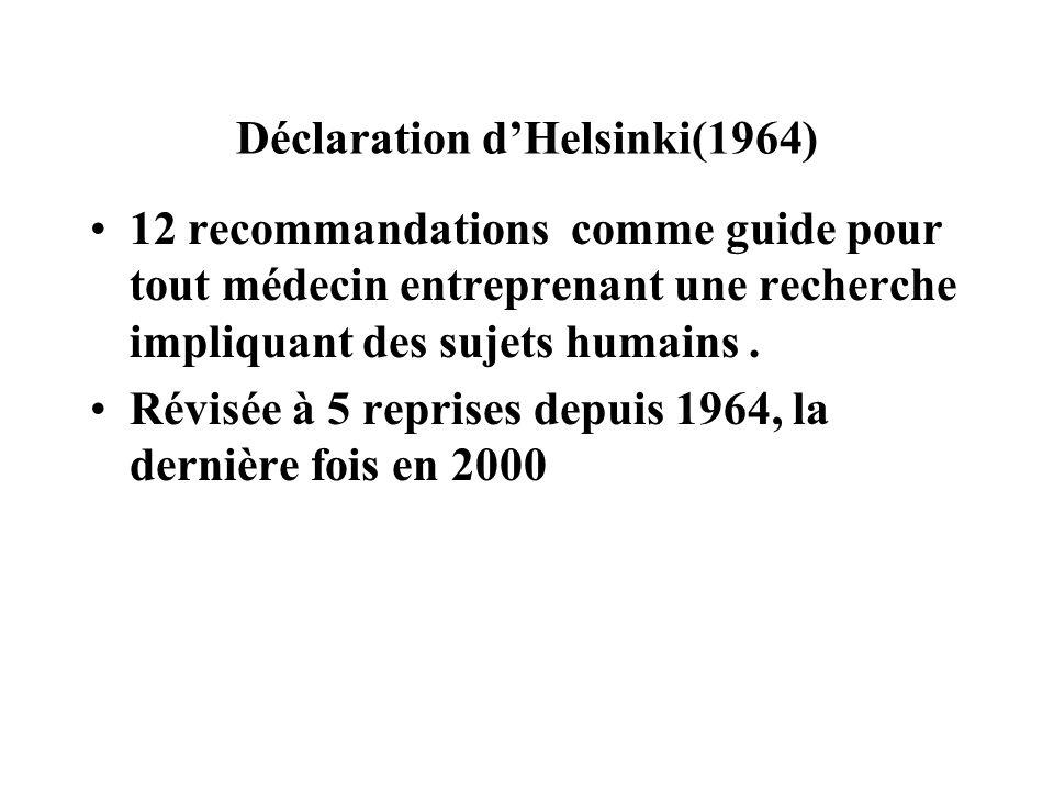 Déclaration d'Helsinki(1964)