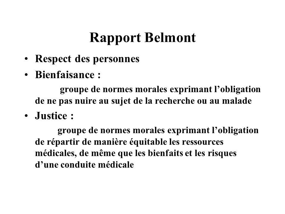 Rapport Belmont Respect des personnes Bienfaisance : Justice :