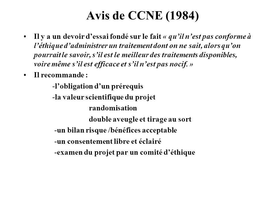 Avis de CCNE (1984)