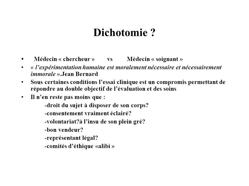 Dichotomie Médecin « chercheur » vs Médecin « soignant »