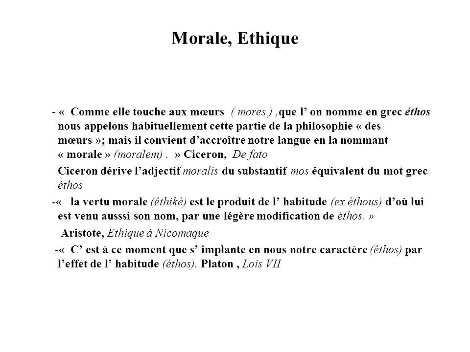 Morale, Ethique