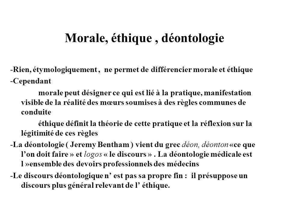 Morale, éthique , déontologie