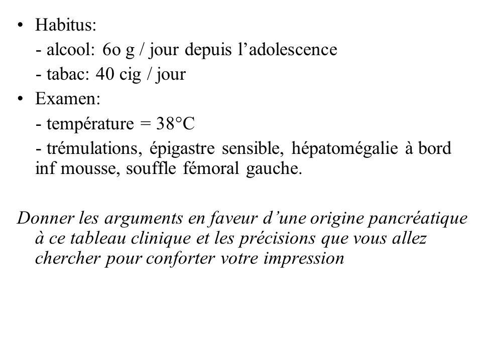 Habitus: - alcool: 6o g / jour depuis l'adolescence. - tabac: 40 cig / jour. Examen: - température = 38°C.