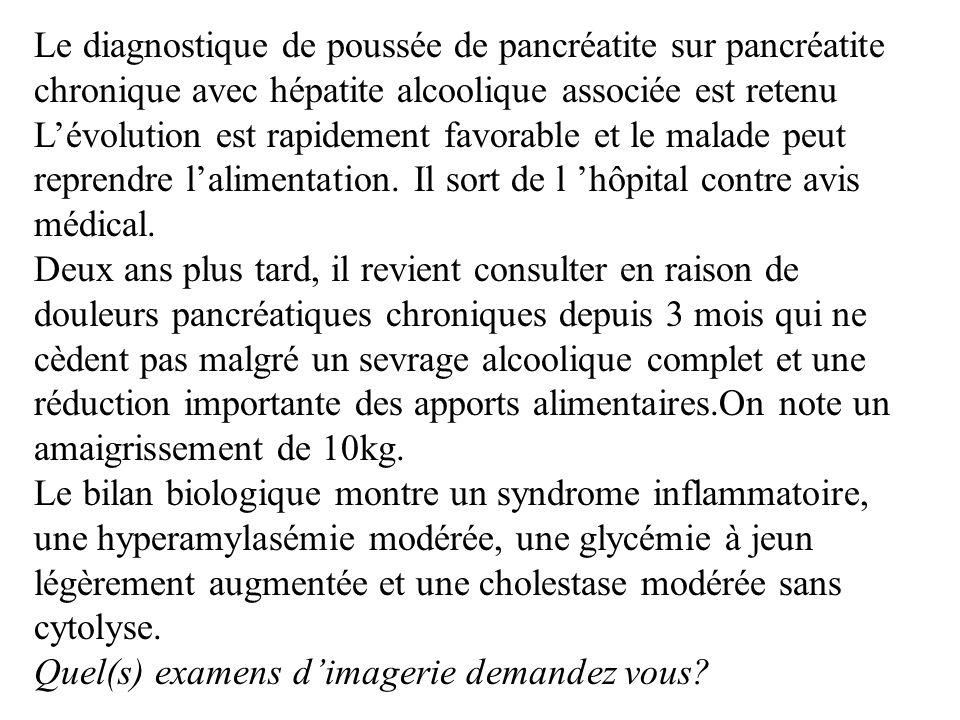 Le diagnostique de poussée de pancréatite sur pancréatite chronique avec hépatite alcoolique associée est retenu