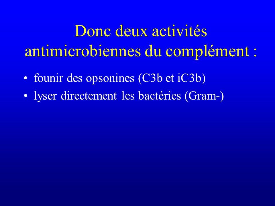 Donc deux activités antimicrobiennes du complément :