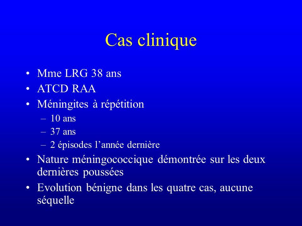 Cas clinique Mme LRG 38 ans ATCD RAA Méningites à répétition