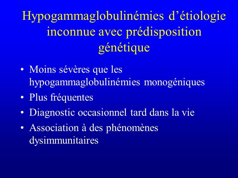 Hypogammaglobulinémies d'étiologie inconnue avec prédisposition génétique