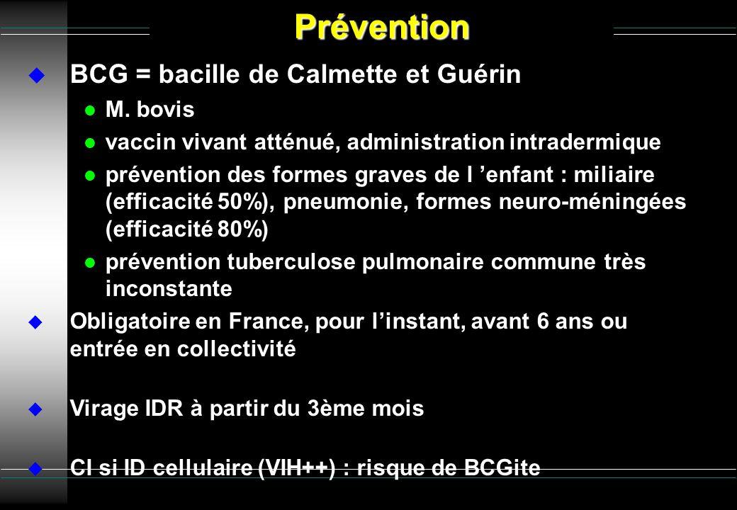 Prévention BCG = bacille de Calmette et Guérin M. bovis