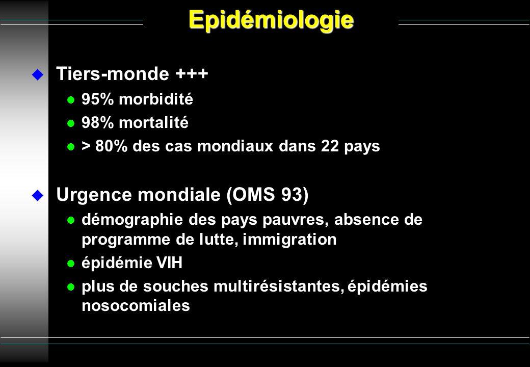 Epidémiologie Tiers-monde +++ Urgence mondiale (OMS 93) 95% morbidité