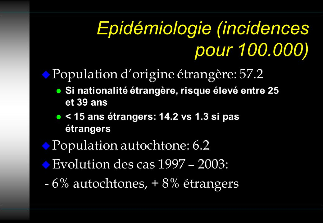 Epidémiologie (incidences pour 100.000)