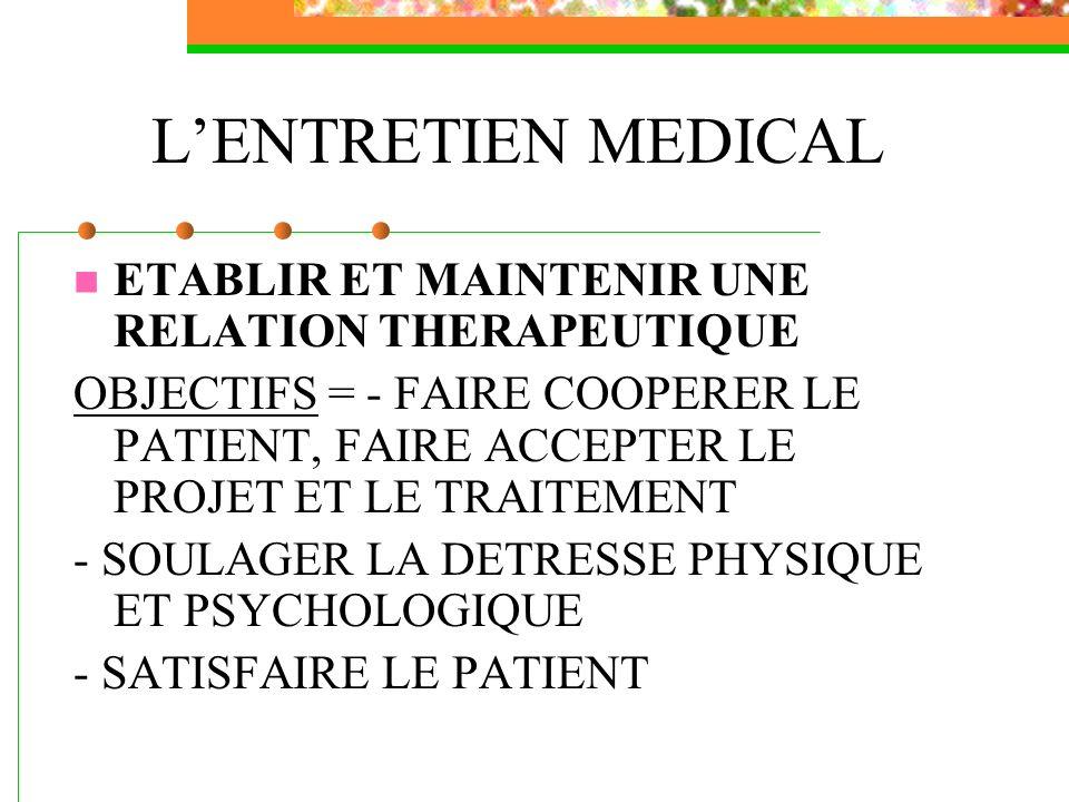 L'ENTRETIEN MEDICAL ETABLIR ET MAINTENIR UNE RELATION THERAPEUTIQUE