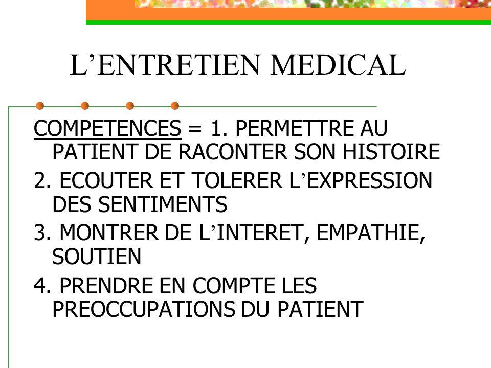 L'ENTRETIEN MEDICAL COMPETENCES = 1. PERMETTRE AU PATIENT DE RACONTER SON HISTOIRE. 2. ECOUTER ET TOLERER L'EXPRESSION DES SENTIMENTS.