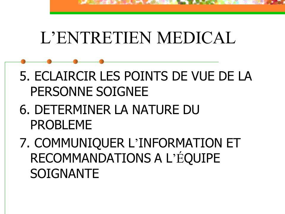 L'ENTRETIEN MEDICAL 5. ECLAIRCIR LES POINTS DE VUE DE LA PERSONNE SOIGNEE. 6. DETERMINER LA NATURE DU PROBLEME.
