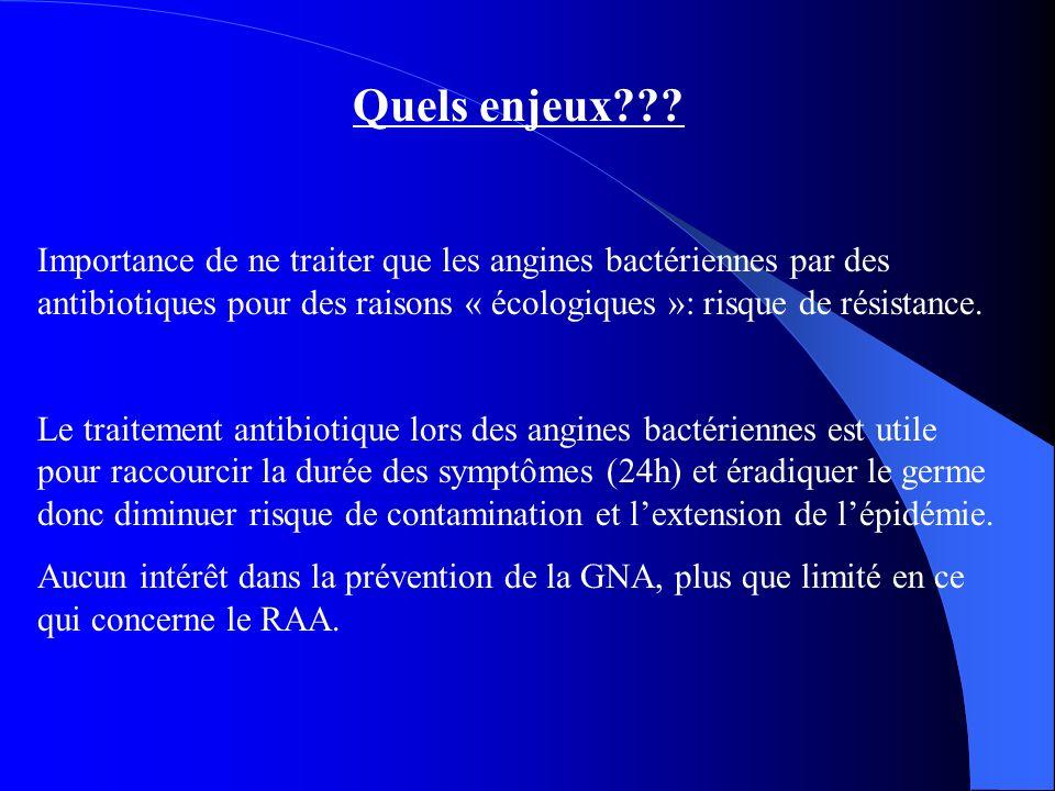 Quels enjeux Importance de ne traiter que les angines bactériennes par des antibiotiques pour des raisons « écologiques »: risque de résistance.