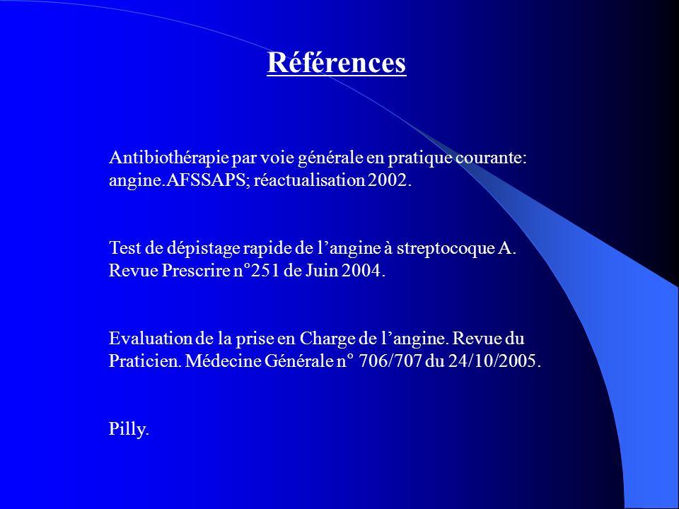 Références Antibiothérapie par voie générale en pratique courante: angine.AFSSAPS; réactualisation 2002.