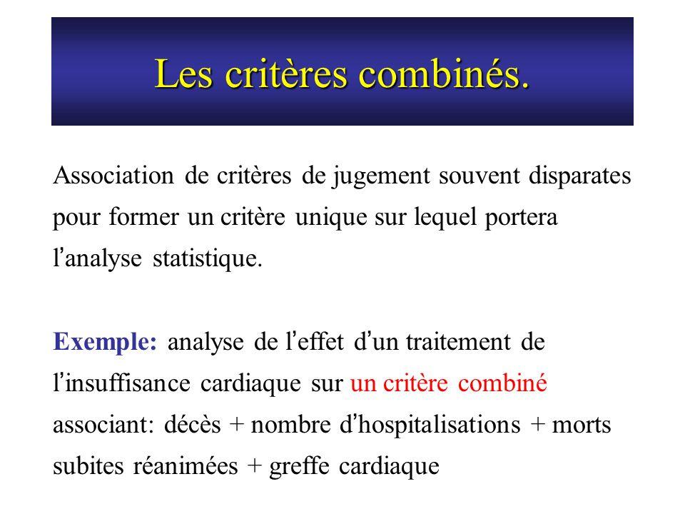 Les critères combinés. Association de critères de jugement souvent disparates pour former un critère unique sur lequel portera l'analyse statistique.