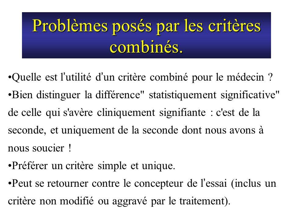 Problèmes posés par les critères combinés.