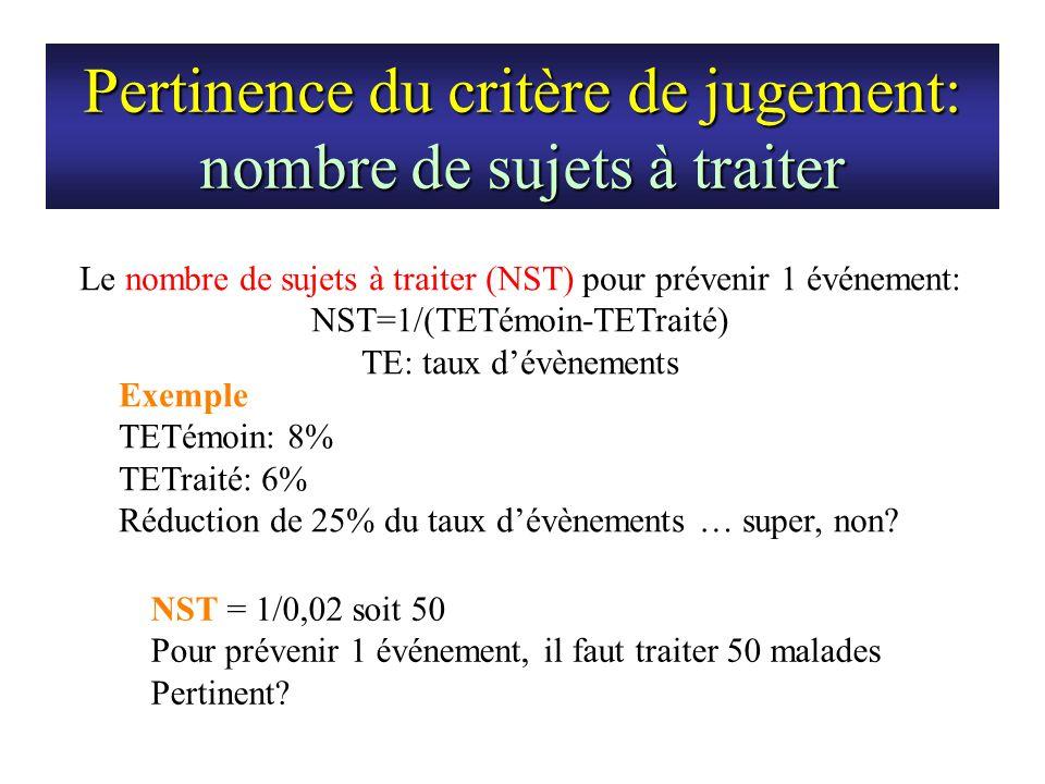 Pertinence du critère de jugement: nombre de sujets à traiter