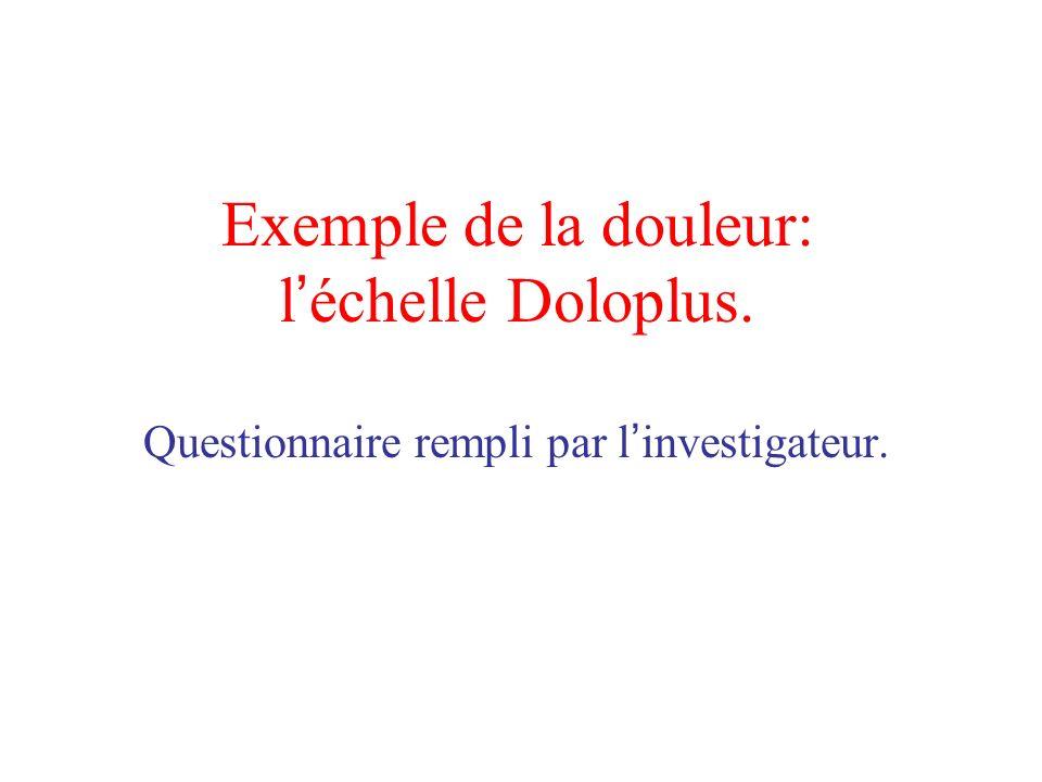 Exemple de la douleur: l'échelle Doloplus