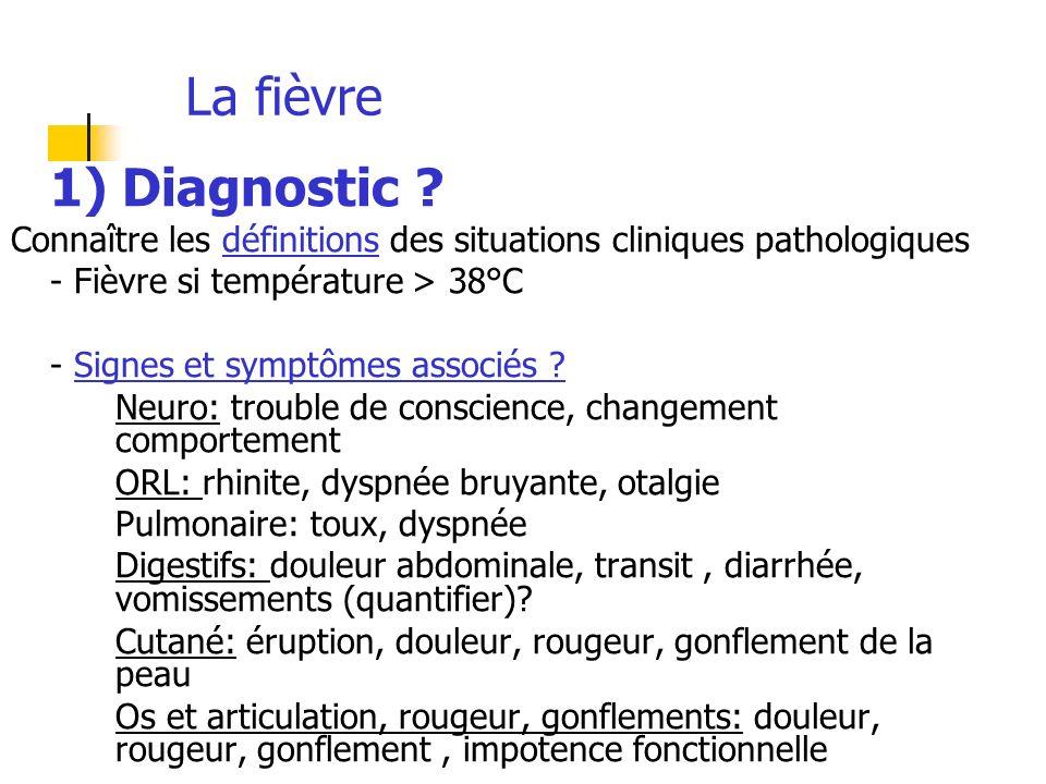 La fièvre 1) Diagnostic Connaître les définitions des situations cliniques pathologiques. - Fièvre si température > 38°C.