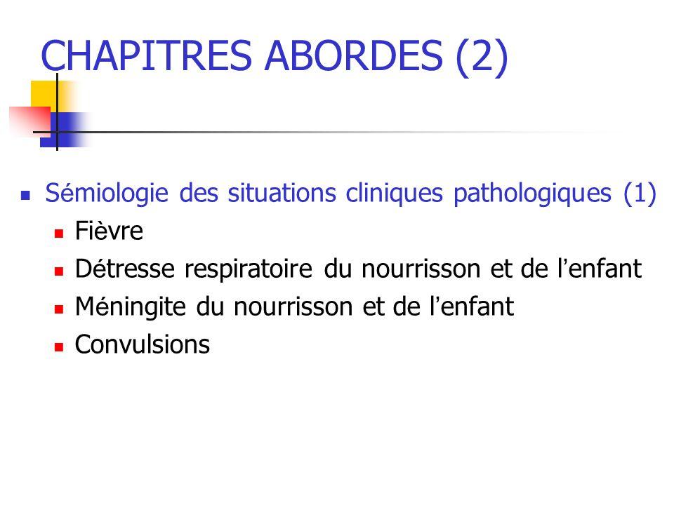 CHAPITRES ABORDES (2) Sémiologie des situations cliniques pathologiques (1) Fièvre. Détresse respiratoire du nourrisson et de l'enfant.