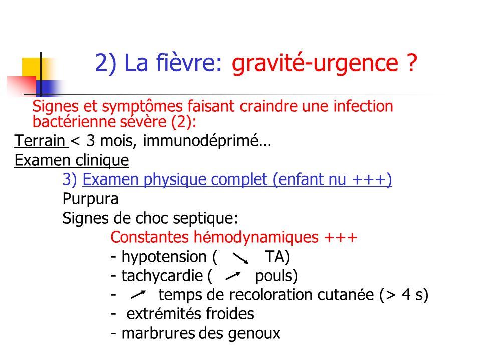2) La fièvre: gravité-urgence